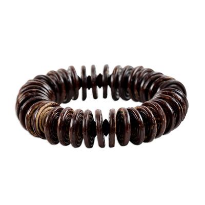 Hand Made Coconut Shell Stretch Bracelet