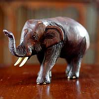 Wood sculpture, 'Friendly Thai Elephant' - Lucky Hand Carved Elephant Sculpture