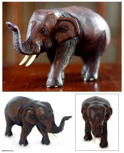 Wood sculpture, 'Friendly Thai Elephant' - Hand Carved Wood Sculpture