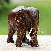 Wood sculpture, 'Gentle Thai Elephant' - Artisan Carved Rain Tree Wood Sculpture
