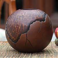 Mango wood vase, 'Prehistory' - Modern Mango Wood Vase