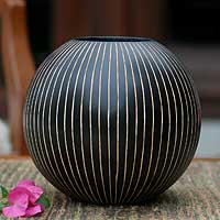 Mango wood vase, 'Black Deco Globe' - Modern Mango Wood Vase from Thailand