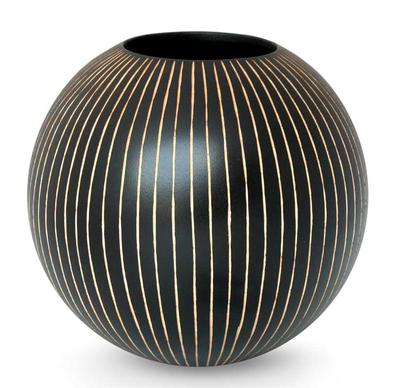 Mango wood vase, 'Black Deco Globe' - Modern Mango Wood Vase from Thailand