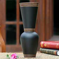 Mango wood vase, 'Harmonious Black' - Decorative Mango Wood Vase