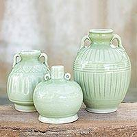 Celadon ceramic vases, 'Sawankhalok Meadows' (set of 3)
