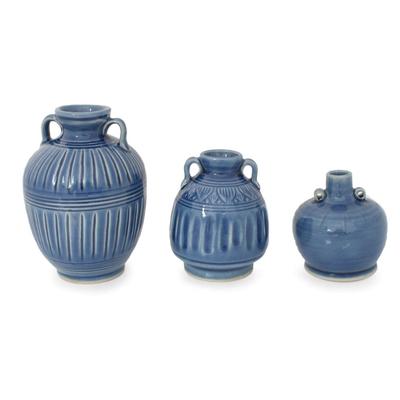 Celadon Ceramic Blue Vases (Set of 3)