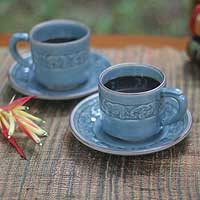 Celadon ceramic cups and saucers, 'Blue Elephant Dance' (set for 2) - Celadon ceramic cups and saucers (Set for 2)