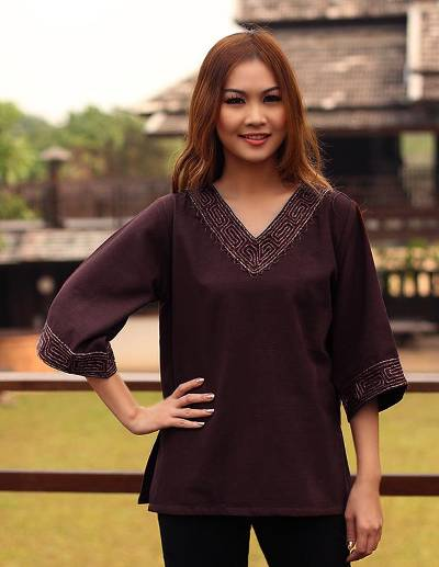 Cotton blouse, 'Lanna Nymph' - Brown Cotton Embroidered Blouse