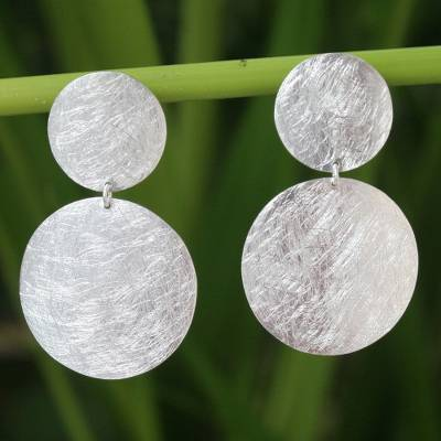Sterling silver dangle earrings, 'Mythical Eclipse' - Handmade Sterling Silver Dangle Earrings