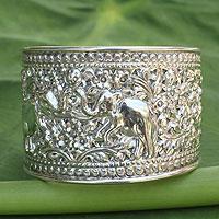 Sterling silver cuff bracelet, 'Elephant Greeting' - Handmade Sterling Silver Cuff Bracelet