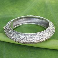 Sterling silver bangle bracelet, 'Bliss' - Floral Sterling Silver Bangle Bracelet