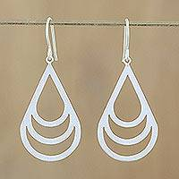 Sterling silver dangle earrings, 'Evening Dew' - Handmade Modern Sterling Silver Dangle Earrings