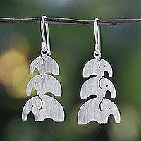 Sterling silver dangle earrings, 'Elephant Love' - Brushed Sterling Silver Dangle Earrings from Thailand