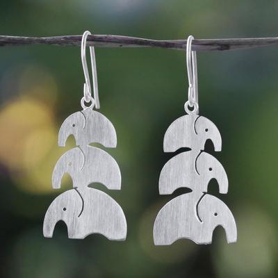 Sterling silver dangle earrings, 'Elephant Love' - Brushed Sterling Silver Dangle Earrings from Thailand