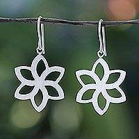 Sterling silver flower earrings, 'Thai Jasmine'