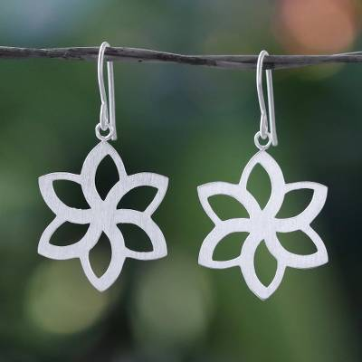 Sterling silver flower earrings, 'Thai Jasmine' - Handmade Brushed Sterling Silver Flower Earrings