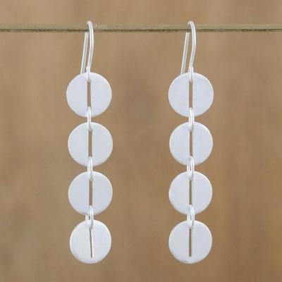 Sterling silver dangle earrings, 'Bold Symmetry' - Modern Sterling Silver Dangle Earrings