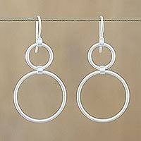 Sterling silver dangle earrings, 'Cycles' - Unique Modern Sterling Silver Dangle Earrings
