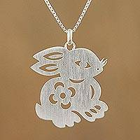 Sterling silver pendant necklace, 'Chinese Zodiac Rabbit'