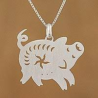 Sterling silver pendant necklace, 'Chinese Zodiac Pig' - Handcrafted Sterling Silver Pig Pendant Necklace