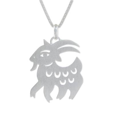 Sterling silver pendant necklace, 'Chinese Zodiac Goat' - Handmade Sterling Silver Pendant Necklace