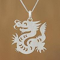 Sterling silver pendant necklace, 'Chinese Zodiac Dragon'