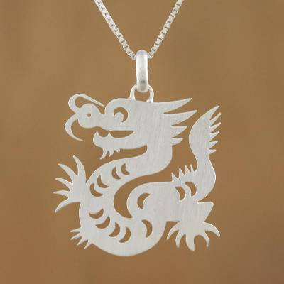 Sterling silver pendant necklace, 'Chinese Zodiac Dragon' - Sterling Silver Pendant Necklace