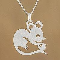 Sterling silver pendant necklace, 'Chinese Zodiac Rat'