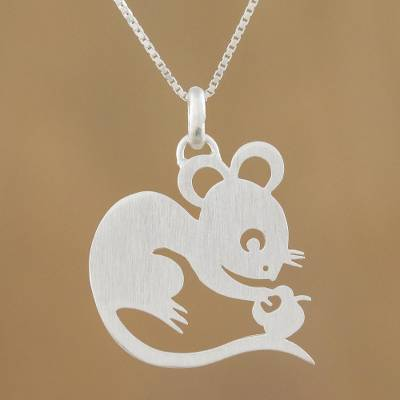 Sterling silver pendant necklace, 'Chinese Zodiac Rat' - Sterling Silver Pendant Necklace
