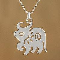 Sterling silver pendant necklace, 'Chinese Zodiac Ox'