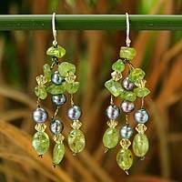 Pearl and peridot dangle earrings, 'Kiwi Ice' - Pearl and Peridot Dangle Earrings