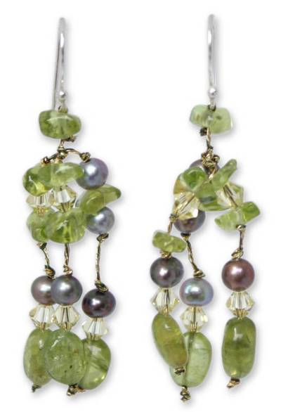 Pearl and Peridot Dangle Earrings
