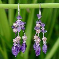 Pearl and amethyst dangle earrings, 'Lavender Ice' - Handmade Amethyst Waterfall Earrings