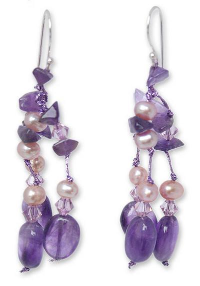 Handmade Amethyst Waterfall Earrings
