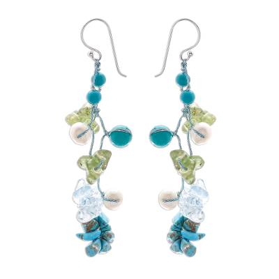 Pearl and peridot flower earrings, 'Symphony in Blue' - Pearl and Quartz Beaded Earrings