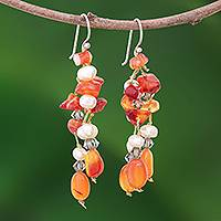 Pearl and carnelian dangle earrings, 'Orange Ice' - Hand Crafted Beaded Carnelian Earrings