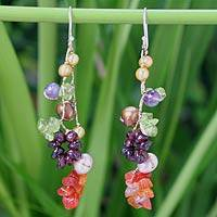 Pearl and amethyst drop earrings, 'Tropical Symphony'
