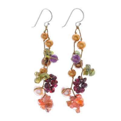 Pearl and amethyst drop earrings, 'Tropical Symphony' - Handmade Multigem Dangle Earrings