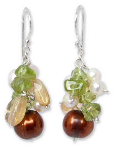 Pearl and peridot dangle earrings, 'Shimmering Cinnamon' - Hand Crafted Pearl Dangle Earrings