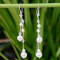 Pearl dangle earrings, 'White Iridescence'