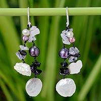 Pearl and onyx dangle earrings, 'Chimes' - Beaded Pearl and Onyx Earrings