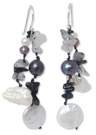 Beaded Pearl and Onyx Earrings