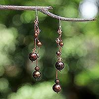 Pearl dangle earrings, 'Brown Iridescence' - Pearl Waterfall Earrings from Thailand