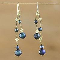 Pearl dangle earrings, 'Gray Iridescence'