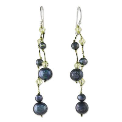 Pearl dangle earrings, 'Gray Iridescence' - Hand Crafted Pearl Waterfall Earrings