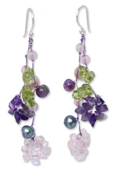 Pearl and peridot flower earrings, 'Floral Symphony' - Handcrafted Pearl and Peridot Flower Earrings