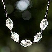 Silver pendant necklace, 'Dancing Leaves' - Unique Braided Cord Silver Necklace