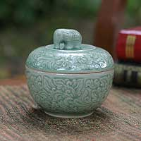Celadon ceramic jar, 'Rose of Sharon' - Celadon Ceramic Jar with Lid