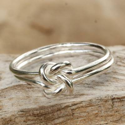 unique sterling silver band ring knot novica