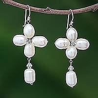 Pearl flower earrings, 'Lucky Morning Clover'